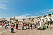tourists in Brandenburg Gate, Berlin