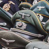 Wehrmacht Visor Caps On Display At Militalia In Milan, Italy
