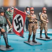 Nazi Toy Soldier With Flag At Militalia In Milan, Italy