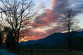 stock photo of cade  - The rising sun colors the morning sky in Cades Cove Great Smoky Mountains National Park Tennessee USA - JPG