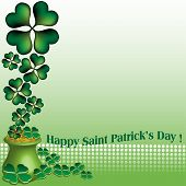 Saint Patrick golden pot with clovers