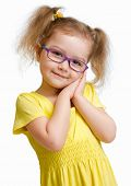 Adorable child in glasses isolated on white