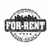 For rent grunge rubber stamp