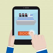 minimalistic illustration of booking a cruise ship ticket on a mobile device, eps10 vector