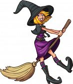 Cute cartoon witch. Vector clip art illustration with simple gradients. All in a single layer.