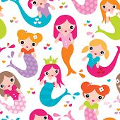 Seamless baby girl swimming mermaid illustration kids under water sea theme background pattern in vector