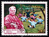 Postage Stamp Italy 1970 Dr. Maria Montessori And Children