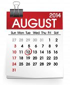 stock photo of august calendar  - August 2014 - JPG
