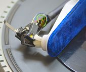 Close-up of a cleaning cartridge stylus turntable