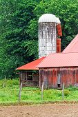 White Silo And Red Barn