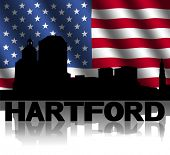 Hartford skyline and text reflected with rippled American flag illustration