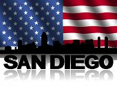 San Diego skyline and text reflected with rippled American flag illustration