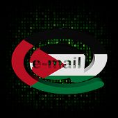 e-mail address AT symbol with Jordanian flag on hex illustration