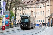 Tram In Dowtown Freiburg Im Breisgau, Germany