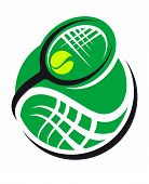 foto of superimpose  - Tennis ball and racquet icon with a green ball and swirling superimposed racquet conceptual of sport - JPG
