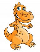 Cute orange cartoon dragon or dinosaur
