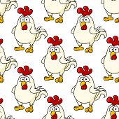 pic of rooster  - Cute little fat cartoon chicken or rooster seamless background pattern for an Easter celebration - JPG
