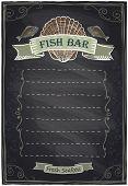 Chalkboard seafood menu card. Eps10