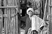 An Unidentified Old Mon Ethnic Woman Poses For The Photo.