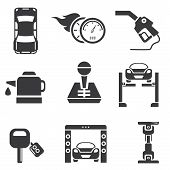 automotive icons, car parts set