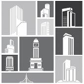 silhouette city, building set