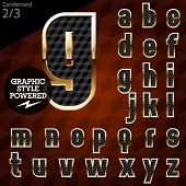 Shiny font of gold and diamond vector illustration.Condensed. File contains graphic styles available in Illustrator