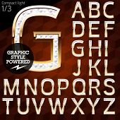 Shiny font of gold and diamond vector illustration. Compact light. File contains graphic styles available in Illustrator