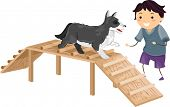 Illustration Featuring a Boy Performing an Agility Test While Its Master Cheers it On