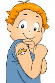Illustration Featuring a Boy Who Has Just Been Vaccinated