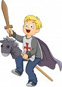 Illustration of a Boy Pretending to be a Knight