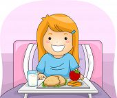 Illustration Featuring a Girl With a Meal Tray in Front of Her