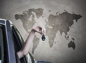 stock photo of car-window  - hand with car keys out the window travel - JPG