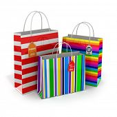 Colourful paper striped shopping bags with labels isolated on white background. 3d