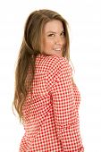 Woman Red White Shirt Shorts Stand Side Smile