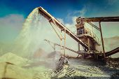 picture of sand gravel  - Vintage retro effect filtered hipster style image of Industrial background  - JPG