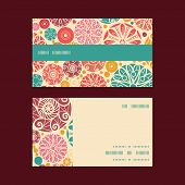 Vector abstract decorative circles horizontal stripe frame pattern business cards set