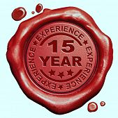15 Year experience quality and jubileum label guaranteed product red wax seal stamp
