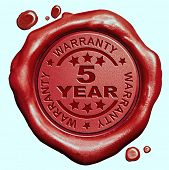 5 Year warranty quality label guaranteed product red wax seal stamp