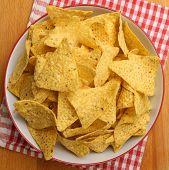 Bowl full of nacho corn chips.