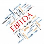 picture of amortization  - EBITDA Word Cloud Angled Concept with great terms such as earnings before taxes interest and more - JPG