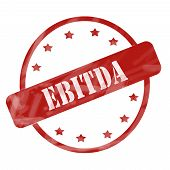 stock photo of amortization  - A red ink weathered roughed up circle and stars stamp design with the word EBITDA on it making a great concept - JPG