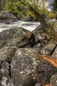 Large Boulders By River.