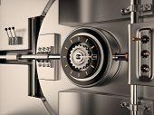 stock photo of vault  - View of Vault Door 3D rendering image - JPG
