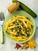 maize pasta with zucchinis and pink pepper