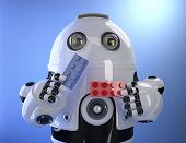 Robot Playing With Colorful Building Bricks. Technology Concept. Contains Clipping Path