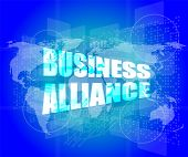 Management Concept: Business Alliance Words On Digital Screen