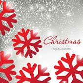 Abstract christmas card with silver snowballs background and red snowflakes