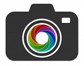 camera icon with color diaphragm design