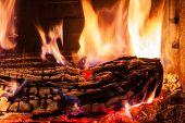 Burning Billets In Fireplace