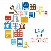 picture of justice law  - Law and justice icons background in flat design style - JPG
